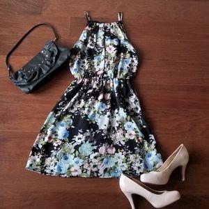Blue Rain Black Floral Dress NWT